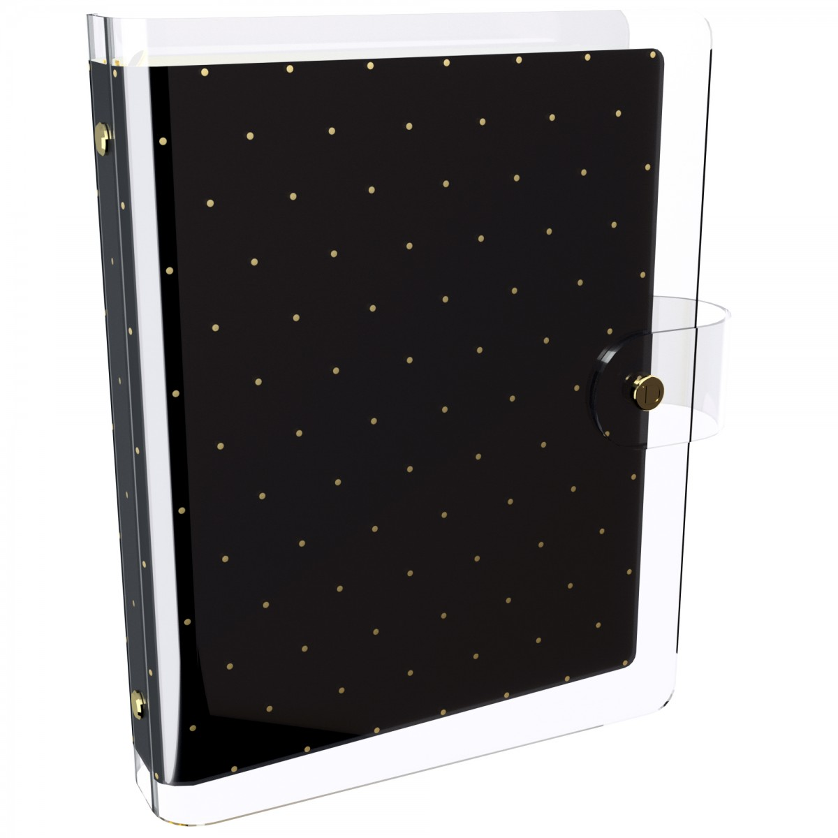 DISCAGENDA CLARITY CLEAR PVC PLANNER COVER - BLACK WITH GOLD POLKA DOTS, RINGBOUND, A5 SIZE
