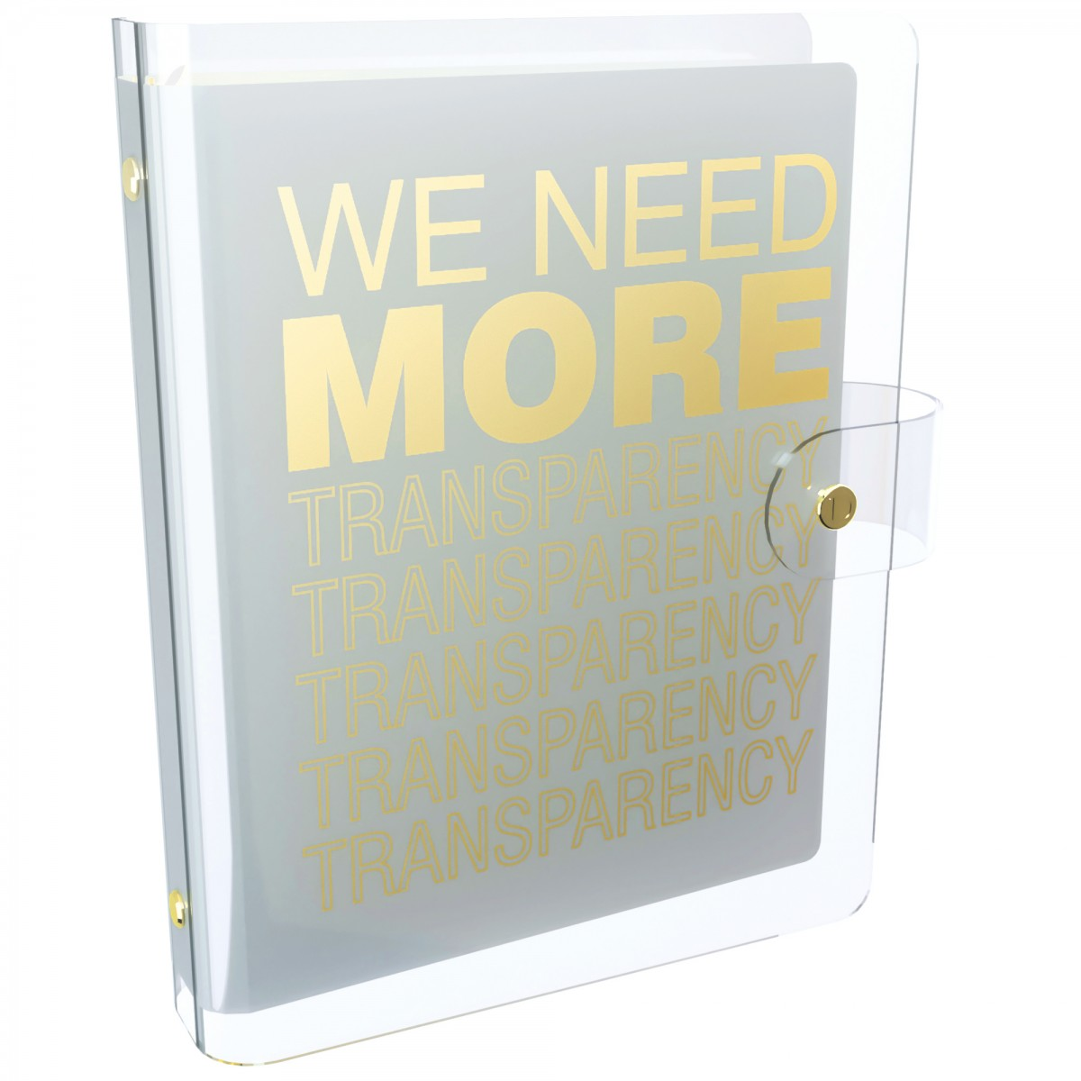 DISCAGENDA CLARITY CLEAR PVC PLANNER COVER - WE NEED MORE TRANSPARENCY (WHITE), RINGBOUND, A5 SIZE