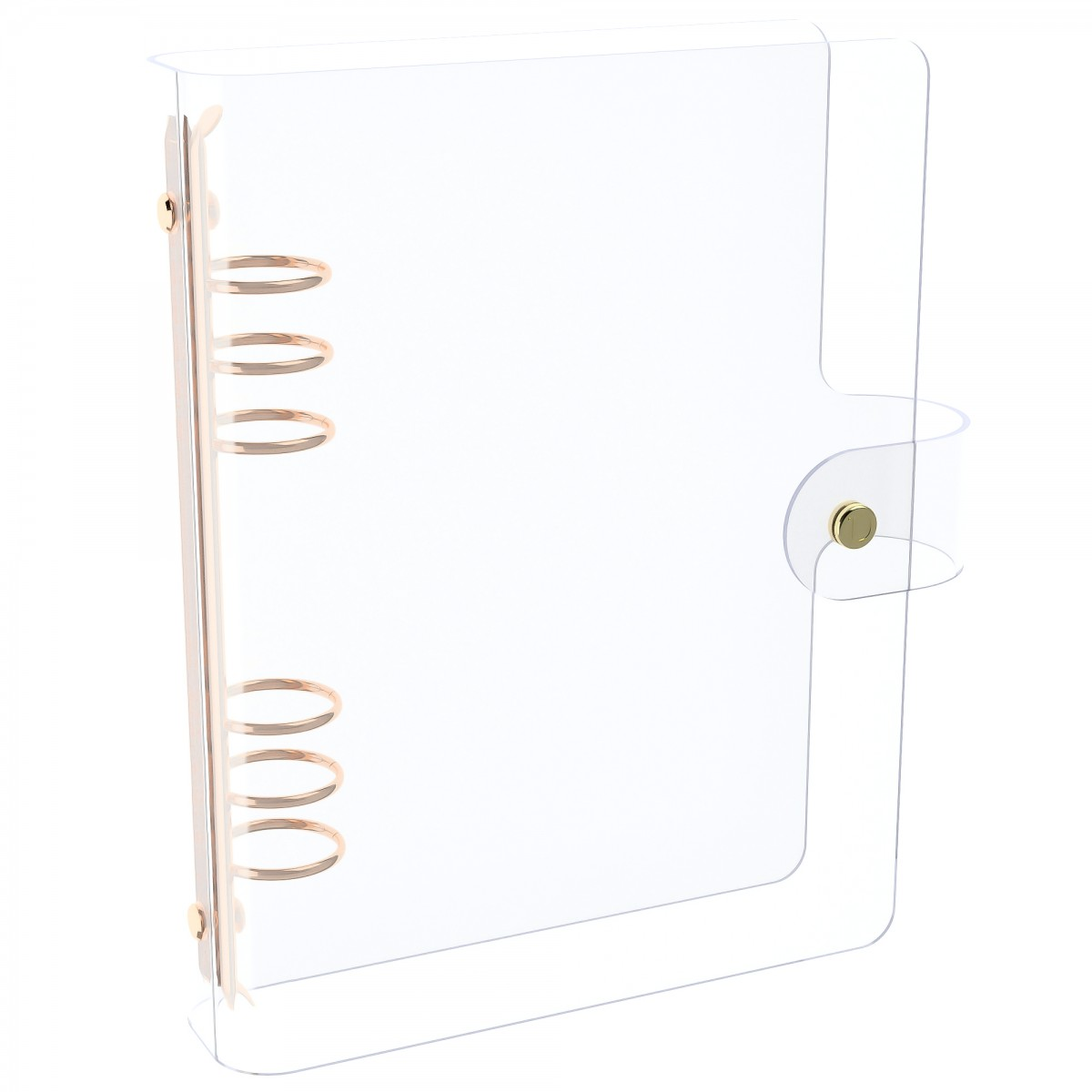 DISCAGENDA CLARITY CLEAR SEE THROUGH PVC PLANNER COVER - RINGBOUND, A5 SIZE, ROSE GOLD