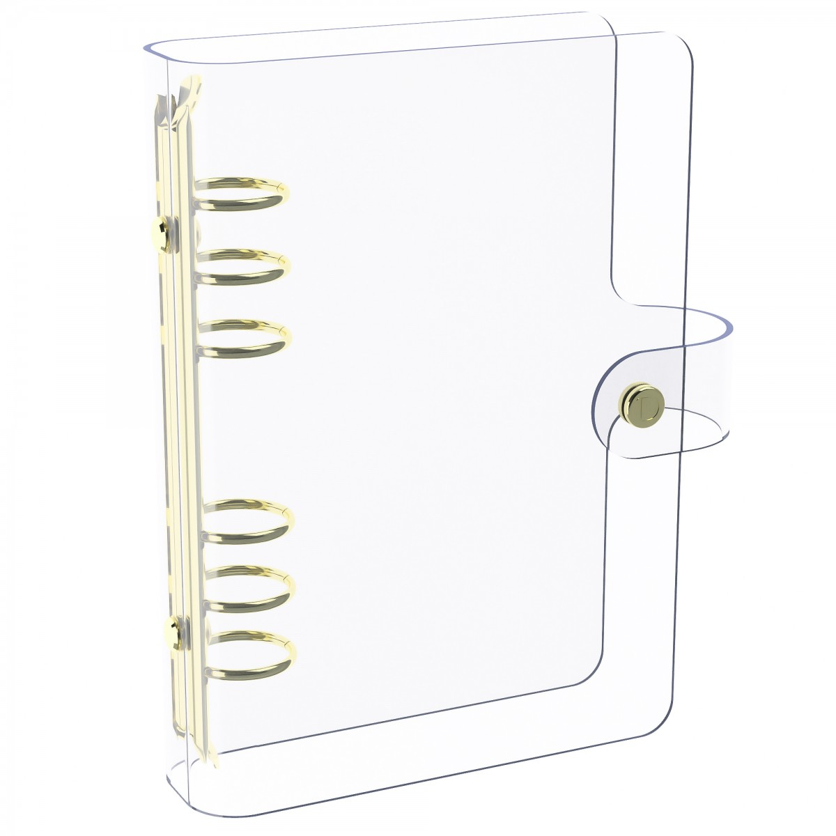 DISCAGENDA CLARITY CLEAR SEE THROUGH PVC PLANNER COVER - RINGBOUND, PERSONAL SIZE, GOLD