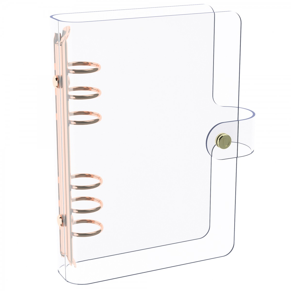 DISCAGENDA CLARITY CLEAR SEE THROUGH PVC PLANNER COVER - RINGBOUND, PERSONAL SIZE, ROSE GOLD