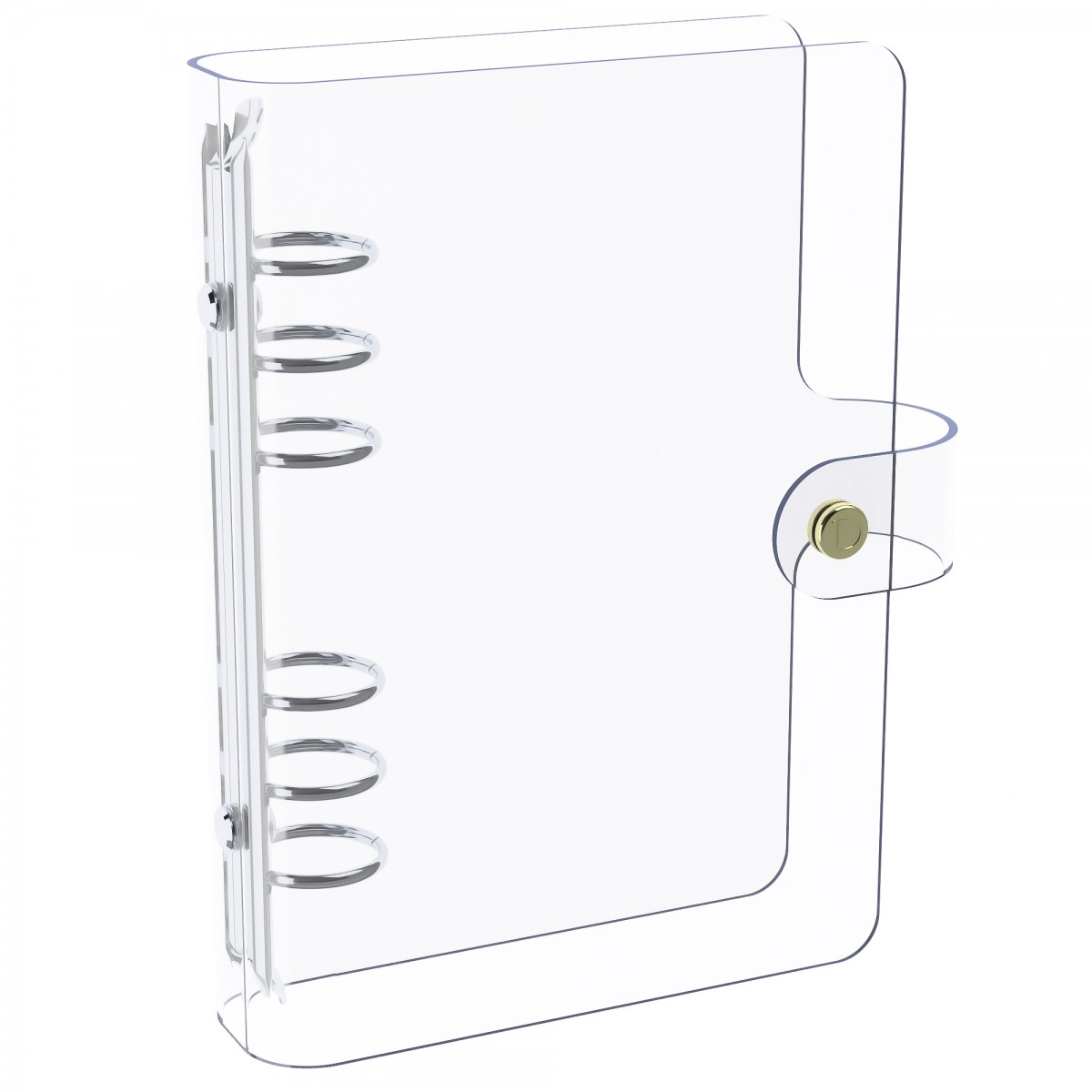 DISCAGENDA CLARITY CLEAR SEE THROUGH PVC PLANNER COVER - RINGBOUND, PERSONAL SIZE, SILVER