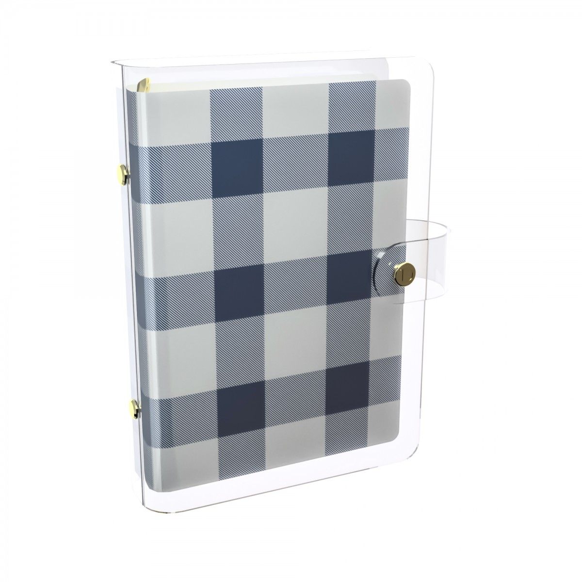 DISCAGENDA CLARITY CLEAR PVC PLANNER COVER - NAVY CHECKERED, RINGBOUND, PERSONAL SIZE