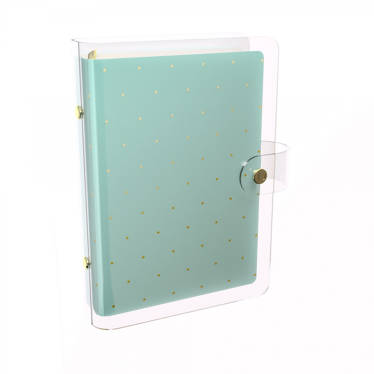 DISCAGENDA CLARITY CLEAR PVC PLANNER COVER - MINT WITH GOLD POLKA DOTS, RINGBOUND, PERSONAL SIZE