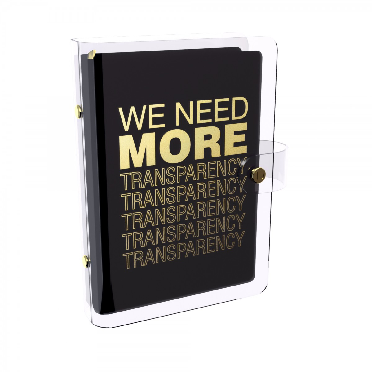 DISCAGENDA CLARITY CLEAR PVC PLANNER COVER - WE NEED MORE TRANSPARENCY (BLACK), RINGBOUND, PERSONAL SIZE