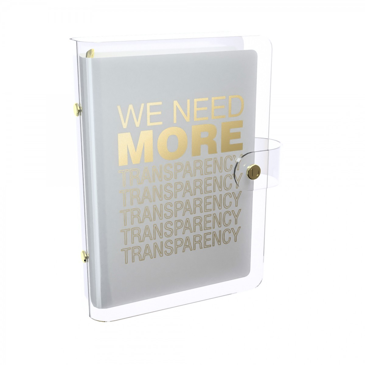 DISCAGENDA CLARITY CLEAR PVC PLANNER COVER - WE NEED MORE TRANSPARENCY (WHITE), RINGBOUND, PERSONAL SIZE