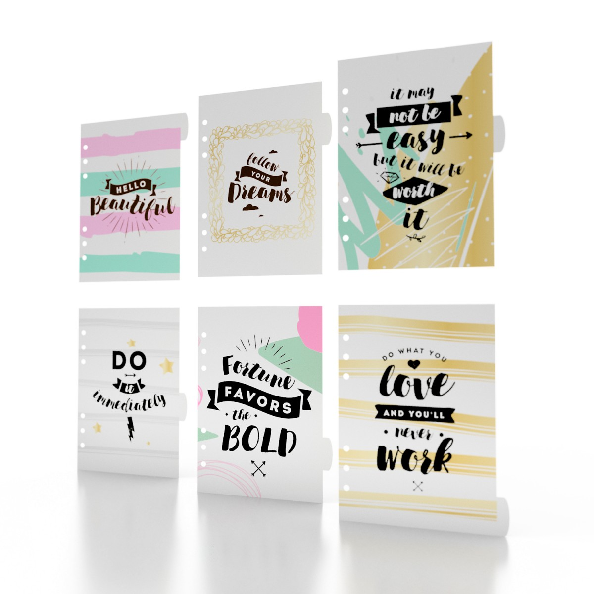 HELLO BEAUTIFUL MOTIVATION 6 SECTION DIVIDERS
