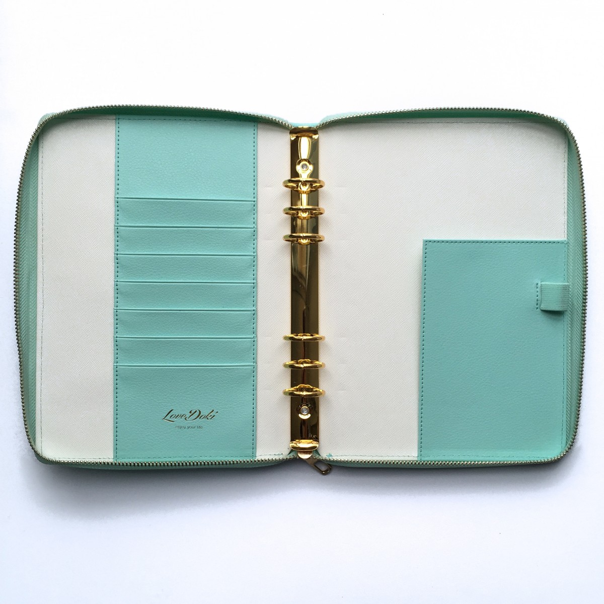 DOKIBOOK MINT DOTTED GOLD RINGS WITH ZIP LARGE