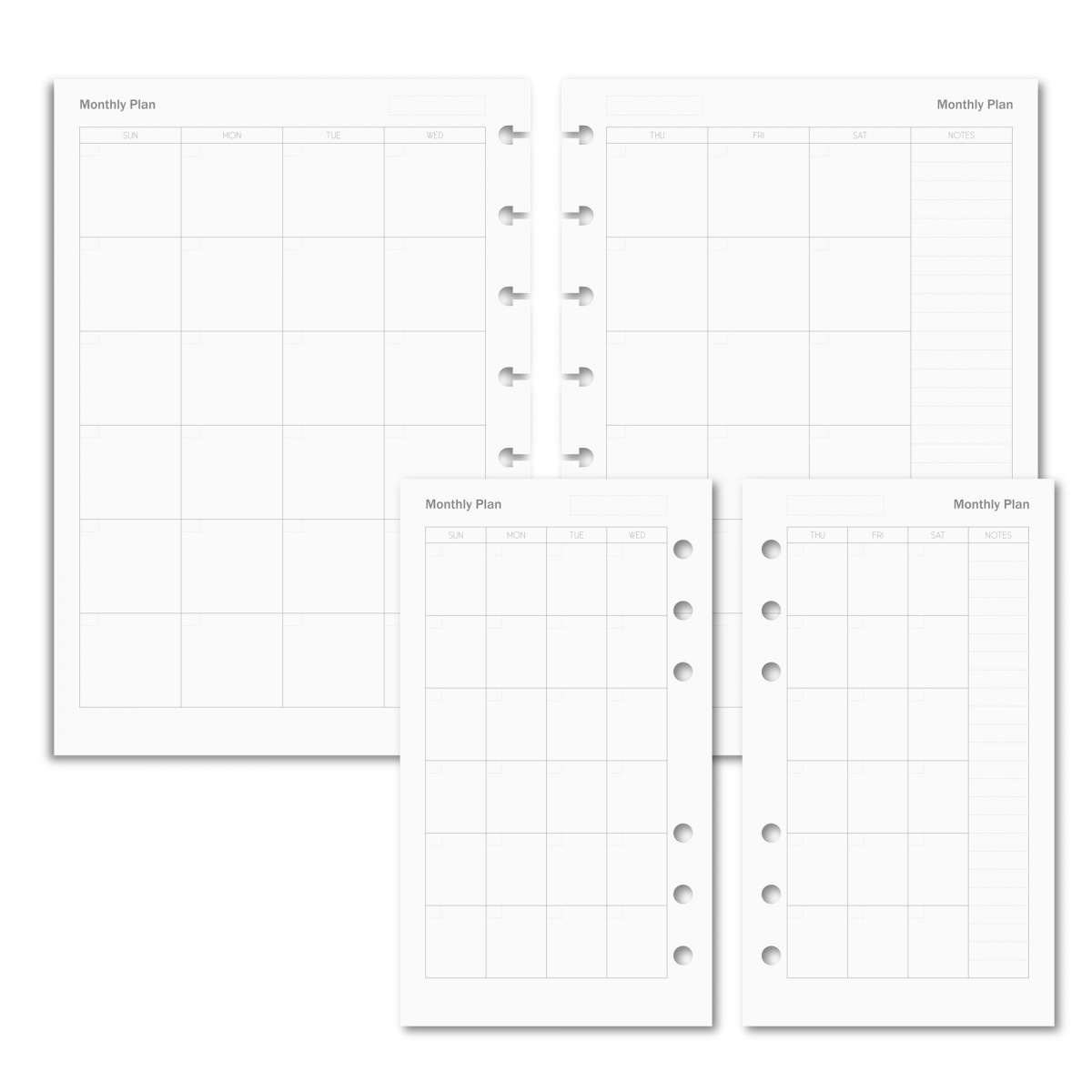 PLANNER REFILL - MONTHLY PLAN